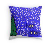 Christmas tree scene with stars and snow XMAS16   Throw Pillow