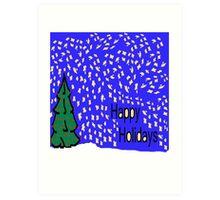 Christmas tree scene with stars and snow XMAS16   Art Print