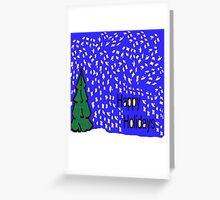 Christmas tree scene with stars and snow XMAS16   Greeting Card