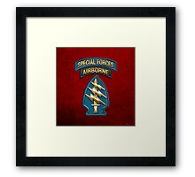 U.S. Army Special Forces - Green Berets SSI over Red Velvet Framed Print