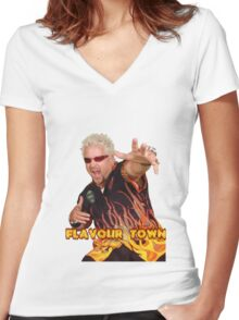 Guy Fieri Flavour Town Women's Fitted V-Neck T-Shirt