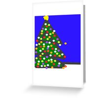 Christmas tree with bulb dots on blue XMAS13 Greeting Card