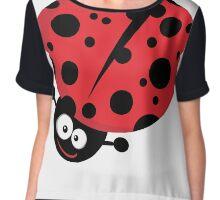 Whimsical Smiling Ladybug Chiffon Top