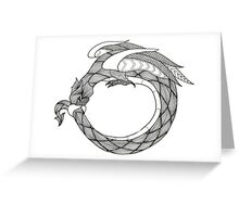 Black and White Wyvern Greeting Card