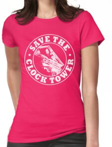 Save The Clock Tower (White Print) Womens Fitted T-Shirt