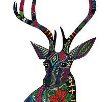 poinsettia deer white (card) by Sharon Turner