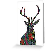 poinsettia deer white (card) Greeting Card