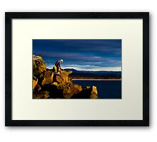 Rock Wall Fisherman Framed Print