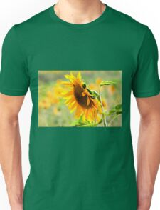 Close up of a Large sunflower in a field of sunflowers Unisex T-Shirt