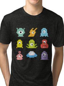 Pixel UFO aliens Tri-blend T-Shirt