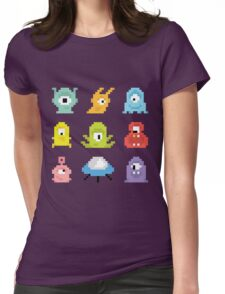 Pixel UFO aliens Womens Fitted T-Shirt