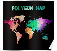 World map background in polygonal style. Modern elements world map Poster