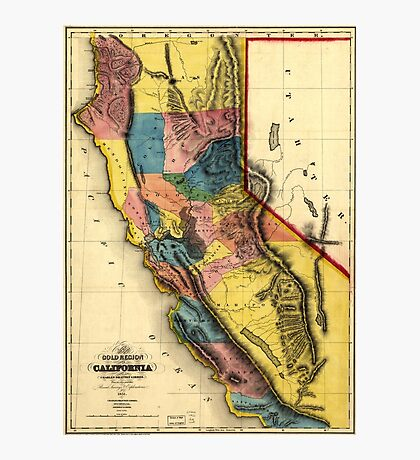 Map of the Gold Region in California (1851) Photographic Print