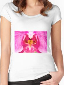 extreme close up Purple Orchid Women's Fitted Scoop T-Shirt