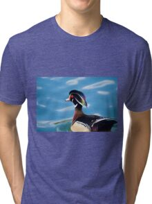colourful male wood duck in a pond   Tri-blend T-Shirt