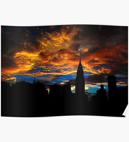 Golden Sunset Indigo Sky Poster