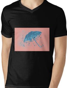 Watercolor painting of umbrella and water splashes Mens V-Neck T-Shirt