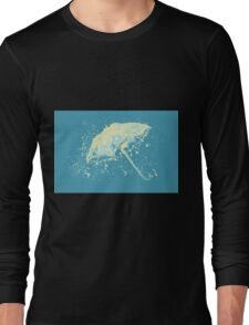 Watercolor painting of umbrella and water splashes Long Sleeve T-Shirt