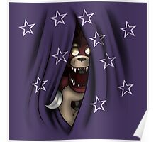 Peeking Foxy (with curtain stars) Poster