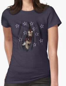 Peeking Foxy (with curtain stars) Womens Fitted T-Shirt