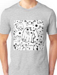 Funny ink splashes cats seamless background. Unisex T-Shirt