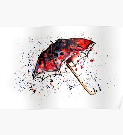 Watercolor painting of umbrella and water splashes Poster