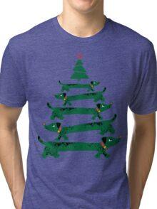 Dachshund Christmas Tree Tri-blend T-Shirt