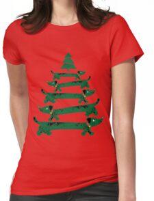 Dachshund Christmas Tree Womens Fitted T-Shirt