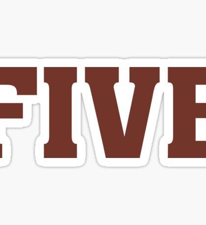 Big Maroon Color 5 Five  Sticker