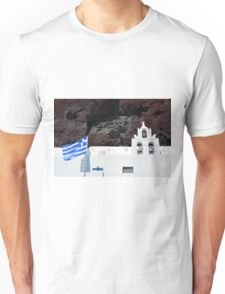 Greek flag and white church with bells Unisex T-Shirt