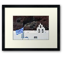 Greek flag and white church with bells Framed Print