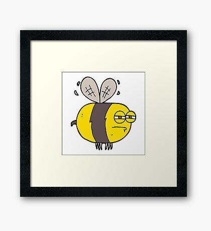 cartoon unhappy bee Framed Print
