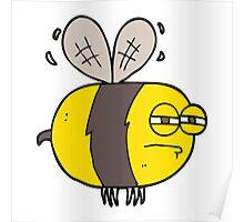 cartoon unhappy bee Poster