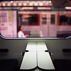 Train table and station Hasselblad medium format 120 square 6x6 negative c41 color analogue photograph by edwardolive
