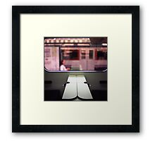 Train table and station Hasselblad medium format 120 square 6x6 negative c41 color analogue photograph Framed Print