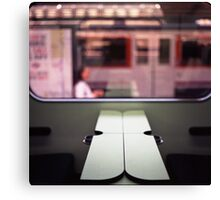 Train table and station Hasselblad medium format 120 square 6x6 negative c41 color analogue photograph Canvas Print