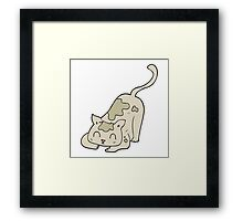 cartoon cat playing Framed Print