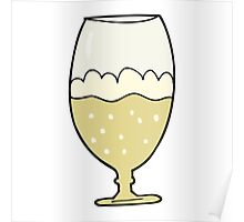 cartoon beer in glass Poster