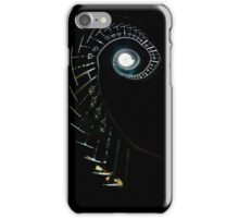 Spiral stairs in high contrast in abandoned house iPhone Case/Skin