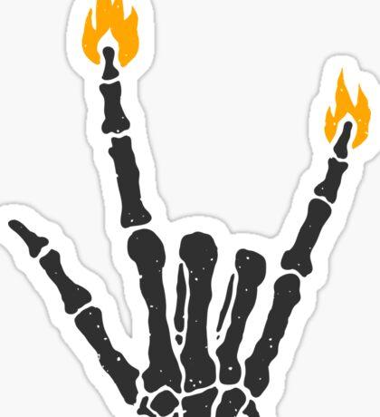 Burning rock skeleton hand Sticker