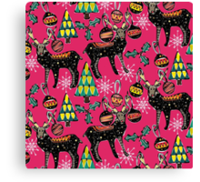 festive deer pink Canvas Print