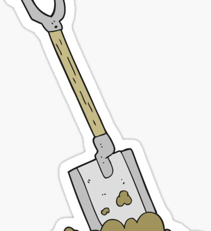 cartoon shovel in dirt Sticker