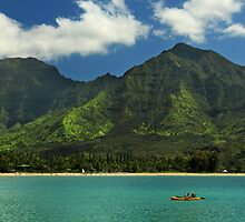 Kayaks In Hanalei Bay by James Eddy