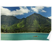 Kayaks In Hanalei Bay Poster