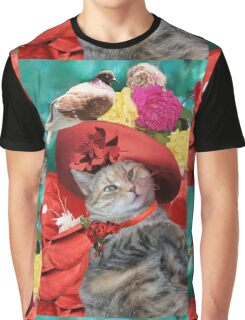PRINCESS TATUS CAT,RED HAT AND PIGEON  Graphic T-Shirt