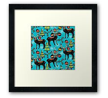 festive deer blue Framed Print
