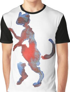 Red And Blue Walking Cat Graphic T-Shirt
