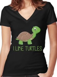 I Like Turtles Women's Fitted V-Neck T-Shirt