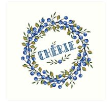 Watercolor Blue berris  branches wreath Art Print