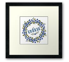 Watercolor Blue berris  branches wreath Framed Print